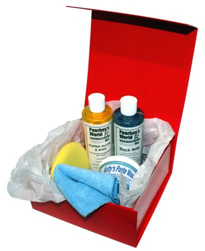 Car Cleaning Gift Box Poorboys DARK KIT Incl. Black Hole, Shampoo, Nattys Blue Wax
